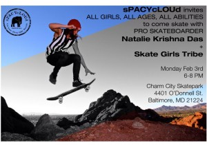 sPACYcLOUd is inviting all girls all ages all abilities to skate at Charm City in Baltimore!